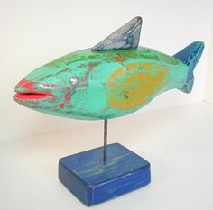 wood fish folkart painted fish sculpture by folkybirdsandfish    Great color!