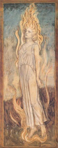 John Duncan, Semele                                                                                                                                                                                 Plus Brighid Goddess, Celtic Goddess, Celtic Mythology, Greek Mythology, William Blake, Illustrations, Illustration Art, John Duncan, Sacred Feminine
