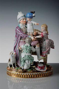 "Group of figures: ""the good father"" Beauty, Johann Carl Modeller Acier, Michel Victor Modeller Meissen, 1785 Porcelain Ceramics, China Porcelain, Dresden Porcelain, Museum, Good Good Father, Royal Doulton, Funny Design, Pottery Art, Old Things"