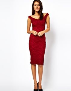 ASOS Midi Bodycon with Lace Off Shoulder only in black