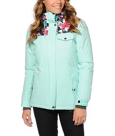 Take on the mountains in lush style with this mint and floral print snowboard jacket made with a 10K water-resistant coating that locks out moisture and a poly insulated fill to trap in heat so you stay warm and dry.