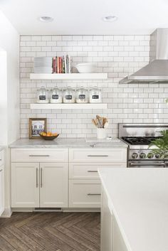 New kitchen shelves hanging white tiles Ideas Floating Shelves Kitchen, Kitchen Shelves, Kitchen Cabinets, Kitchen Island, Kitchen Cupboard, Kitchen Storage, Kitchen Interior, New Kitchen, Kitchen Decor