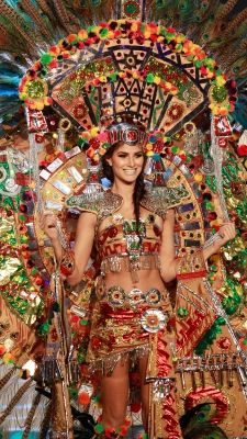 Miss Mexico Karina Gonzalez shows off the national costume for Mexico