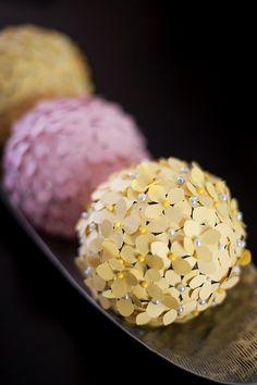 Styrofoam ball, flower paper puncher, pins