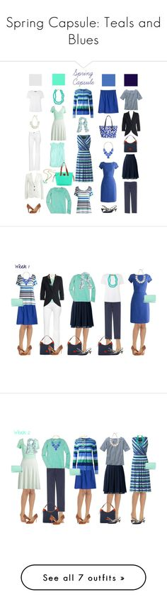 """""""Spring Capsule: Teals and Blues"""" by kristin727 ❤ liked on Polyvore featuring Lands' End, J.Crew, Kendra Scott, DL1961 Premium Denim, MaxMara, Boden, Amrita Singh, Kate Spade, OPTIONS and Dooney & Bourke"""