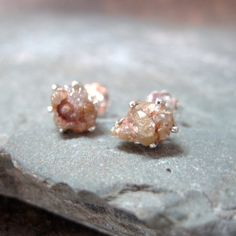 Natural Rough Diamond Stud Earrings... Simply beautiful