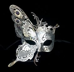Masquerade Mask - Luxury Venetian Style Half Black Silver Butterfly Design Masquerade Ball Mask