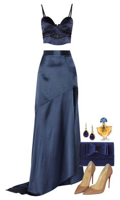 """Nights in Blue Satin"" by vanessajeanette ❤ liked on Polyvore featuring Michael Lo Sordo, INC International Concepts, Christian Louboutin, Guerlain and Devta Doolan"