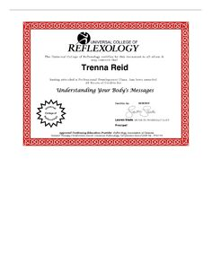 Understanding Your Body's Messages certificate Allergy Relief, Continuing Education, Reflexology, Professional Development, Understanding Yourself, Allergies, Certificate, College, Messages