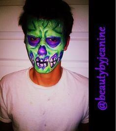CARTOON ZOMBIE by @beautybyjeanine #cartoonzombie #malemakeup #facepaint #menshalloween #costume #fxmakeup #makeup #halloween #halloweenmakeup #mua #2014halloween #art #faceoff #zimmizhairdesigners