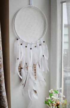 Boho dream catcher / White dream catcher / Big Dream catcher / Wedding decor / Feather dream catcher / Pheasant dream catcher / Gypsy