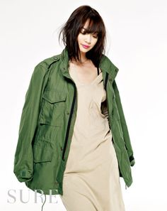 military jacket with simple one-piece.
