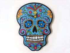 Blue Sugar Skull - Day of the Dead -Dia de Los Muertos - Calavera - Wall Clock