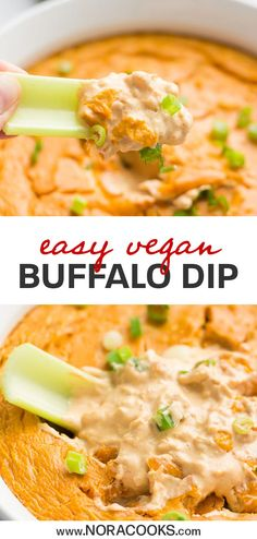 You MUST try this easy Vegan Buffalo Chicken Dip. Made with a secret ingredient . You MUST try this easy Vegan Buffalo Chicken Dip. Made with a secret ingredient its super creamy an Vegan Party Food, Vegan Junk Food, Vegan Foods, Vegan Snacks, Vegan Dishes, Vegan Recipes, Cooking Recipes, Vegan Apps, Vegan Ideas