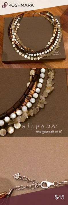 "Silpada multi strand Mother of Pearl Necklace One of Silpada's best multi strand necklaces filled with Mother of Pearl, wood, Rutilated Quartz & Tiger Coconut beads. 17"" long with a +2"" extender. Most wide mouth pendants will fit. It's gorgeous, but has t been worn in ages. Beautiful condition. Silpada Jewelry Necklaces"