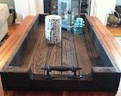 Large Reclaimed Dark Stained Pallet Wood Serving Tray/Shoe Tray with Metal Handles