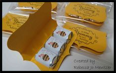 Just Bee-Cause, A little favor made with a top note and 3 wrapped Hershey Nuggets. This one is Just Bee-Cause, but they can be made in any color for any occasion. Sentiment on top is a stamp from Stampin' Up!