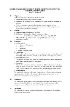 The characteristics of Culture Semi-Detailed Lesson plan 4a's Lesson Plan, Lesson Plan Format, Lesson Plan Examples, English Lesson Plans, Daily Lesson Plan, Teacher Lesson Plans, Lesson Plan Templates, English Lessons, Lesson Plan In Filipino