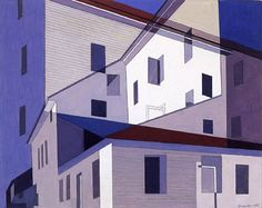 """""""Photography is nature seen from the eyes outward, painting from the eyes inward"""" C Sheeler Charles Sheeler On Shaker Theme Tempera on paper 1956 Charles Sheeler Composition around W… Gig Poster, Charles Sheeler, Pop Art, Building Painting, House Drawing, Art Database, Urban Landscape, Your Paintings, Artist Art"""