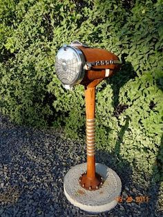 Vintage Chevy headlight sculptural mailbox