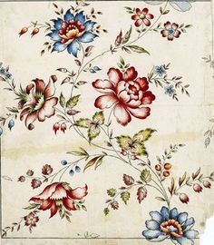 "Original textile design on paper from the manufacturer ""Haussmann"", Logelbach, near Colmar, last part of the century. Design Textile, Textile Patterns, Textile Prints, Print Patterns, Floral Patterns, Victorian Flowers, Vintage Flowers, Vintage Floral, Botanical Prints"
