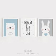 Printable Nursery Art Set of 3 Kids room poster Dream Big
