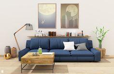Granatowa sofa w salonie - zdjęcie od KINGDOM Home Staging - Salon - Styl Skandynawski - KINGDOM Home Staging