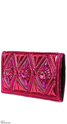 Balmain Fuchsia Swarovski Embroidered Clutch