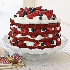 Red, White, and Blue Cake from MyRecipes.com #4thofJuly
