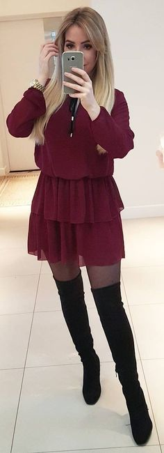 #winter #fashion /  Burgundy Dress + Black OTK Boots