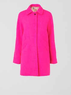 This pop-bright, bouclé coat is a luxe way to work the pink coat trend