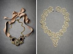 Love the necklace on the right! Via Shira Weinberger Bridal Fashion Guide