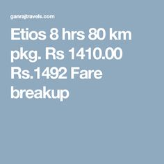 Etios 8 hrs 80 km pkg. Rs 1410.00  Rs.1492  Fare breakup
