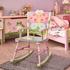Shop for Fantasy Fields - Magic Garden Rocking Chair. Get free delivery On EVERYTHING* Overstock - Your Online Furniture Outlet Store! Get in rewards with Club O! Toddler Chair, Toddler Furniture, Kid Chair, Toy Storage Bench, Childrens Rocking Chairs, Kids Bookcase, Painted Chairs, Table And Chair Sets, Kids Decor
