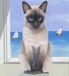 Siamese Cat & Sailing Boats Limited Edition Fine Art Canvas Print - Sue Barratt