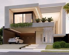 A modern house architecture style is famous with its innovative design. Architecture Design, Modern Architecture House, Modern House Design, Exterior House Lights, Dream House Exterior, Interior Design Courses, Best Interior Design, Narrow House Designs, Facade House