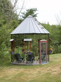 Corn Crib Screen Gazebo--I really want one of these, just so different and perfect for a large yard. Screened Gazebo, Backyard Gazebo, Cozy Backyard, Modern Backyard, Large Backyard, Outdoor Rooms, Outdoor Gardens, Outdoor Living, Silo House