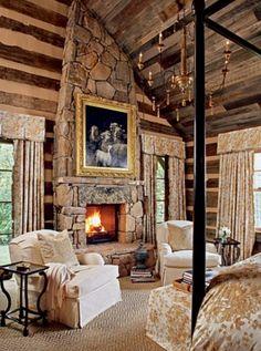 65 Cozy Rustic Bedroom Design Ideas - Di Home Design Log Cabin Bedrooms, Log Cabin Homes, Log Cabins, Rustic Bedrooms, Log Home Bedroom, Lodge Bedroom, Cottage Bedrooms, Mountain Cabins, Deco Design