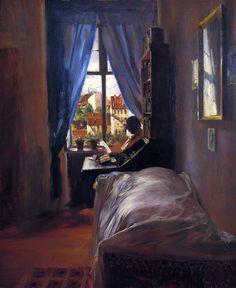 The Artist's Bedroom in Ritterstrasse (Adolph von Menzel - 1847)