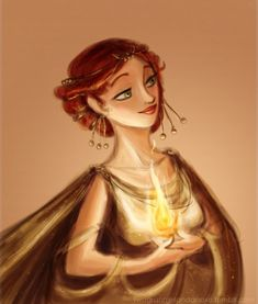 Hestia - Hearth, domestic fire, the family - Hearth with fire burning ~ I like this style of art. I wish the name was on it *sad face*