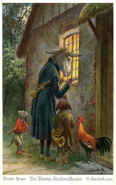The Musicians of Bremen 3 (Brothers Grimm) - Fantasy Book Brothers Grimm, Fairytale Art, Children's Book Illustration, Book Illustrations, Whimsical Art, Illustrators, Fantasy Art, Fairy Tales, Bremen Musicians