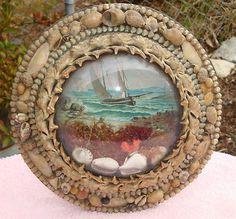 1800s Sailors Valentine Victorian Shell Art Bubble Glass frame
