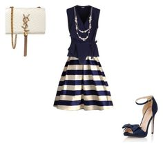 """Nautical skirt"" by rlbennett06 on Polyvore featuring Chicwish, Mantù, Little Mistress, Kate Spade and Yves Saint Laurent"