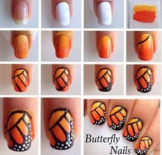 Monarch Butterfly nails- for the girls!