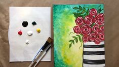Easy Painting For Kids, Acrylic Painting For Beginners, Acrylic Painting Tutorials, Beginner Painting, Painting Techniques, Simple Canvas Paintings, Easy Canvas Painting, Painting Art, Easy Rose