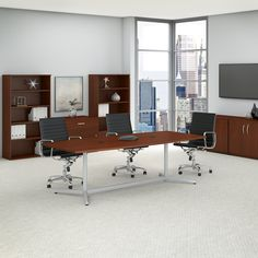 Bush Business Furniture Eden 60000 Series Boat Shaped Conference Table Top Finish: Mocha Cherry, Size: L