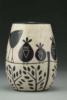 Birds on a Wire von Jennifer Falter (Ceramic Vase - vaseYou can find Porcelain and more on our website.Birds on a Wire von Jennifer Falter (Ceramic Vase - vase Pottery Painting Designs, Pottery Designs, Paint Designs, Sgraffito, Painted Plant Pots, Painted Flower Pots, Porcelain Ceramics, Ceramic Vase, Fine Porcelain