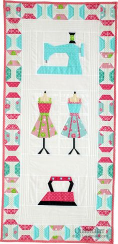 My Sewing Room wall hanging by Charise Randell appears in Quilts from Quiltmaker's 100 Blocks Spring '13 edition. http://www.quiltmaker.com/blogs/quiltypleasures/2013/03/qm-rocks-the-blocks-giveaways-2/