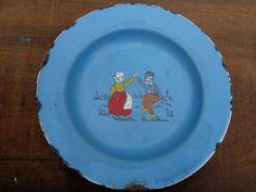 Vintage European Enameled Children/'s Dish