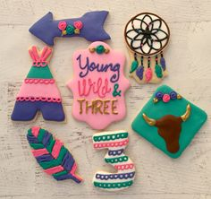Young Wild and Three Cookies   Cookies by Brooke  Dreamcatcher Feather Arrow Teepee Tribal